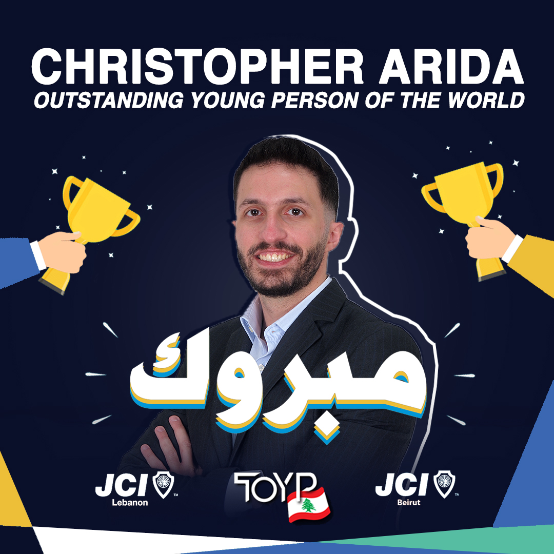 Christopher Arida, an entrepreneur and a passionate environmental activist, is the first Lebanese to ever make it to a TOYP list.